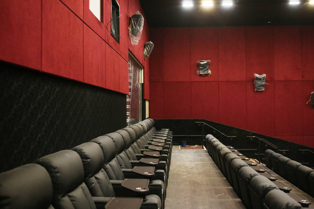 A medium size theatre under construction at the new Maya Cinemas in North Las Vegas, Wednesday, Dec. 12, 2018. The aim of the theatre chain is to serve latino-centric, underserved communities. The ...