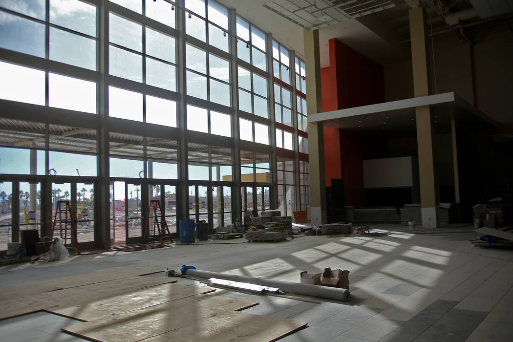 The front entrance under construction at the new Maya Cinemas in North Las Vegas, Wednesday, Dec. 12, 2018. The aim of the theatre chain is to serve latino-centric, underserved communities. The th ...
