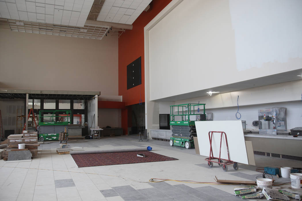 The front entrance and concession stand under construction at the new Maya Cinemas in North Las Vegas, Wednesday, Dec. 12, 2018. The aim of the theatre chain is to serve latino-centric, underserve ...