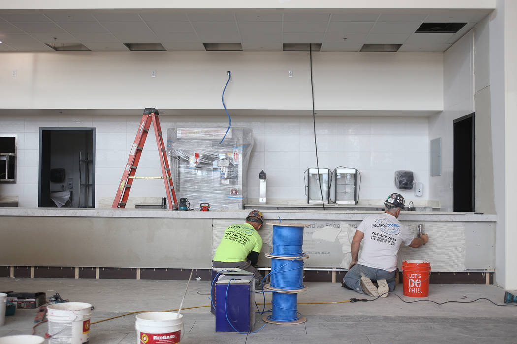 The concession stand under construction at the new Maya Cinemas in North Las Vegas, Wednesday, Dec. 12, 2018. The aim of the theatre chain is to serve latino-centric, underserved communities. The ...