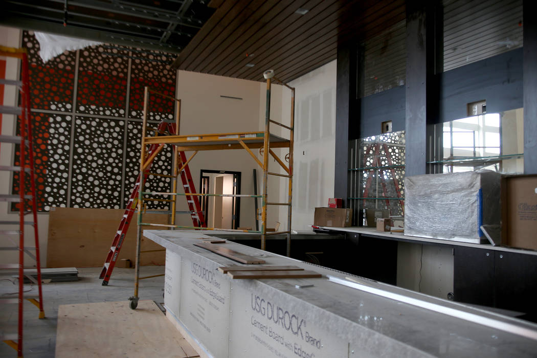 A bar under construction at the new Maya Cinemas in North Las Vegas, Wednesday, Dec. 12, 2018. The aim of the theatre chain is to serve latino-centric, underserved communities. The theatre will of ...