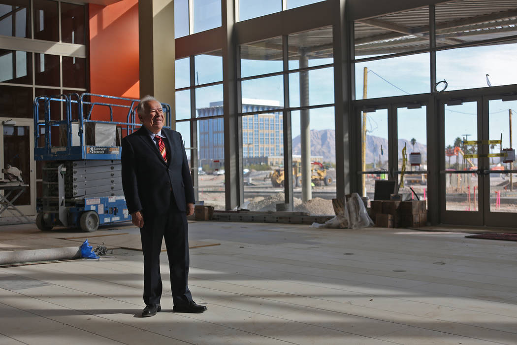 Moctesuma Esparza, CEO of Maya Cinemas, stands in the entrance of the new Maya Cinemas in North Las Vegas, Wednesday, Dec. 12, 2018. The aim of the theatre chain is to serve latino-centric, unders ...