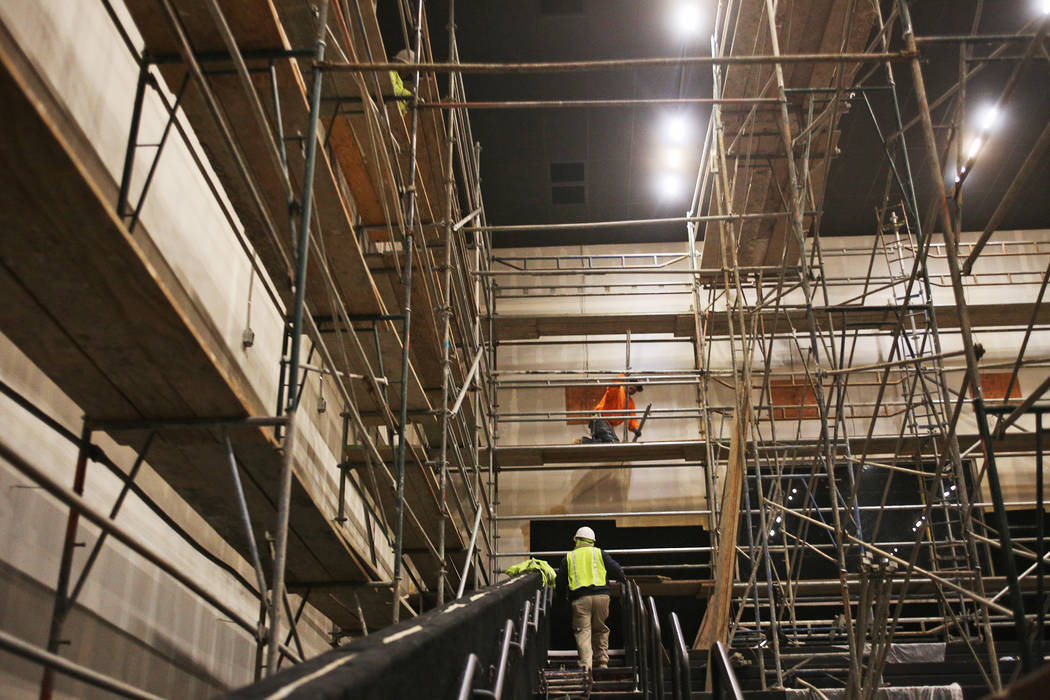 A 250 seat theatre under construction at the new Maya Cinemas in North Las Vegas, Wednesday, Dec. 12, 2018. The aim of the theatre chain is to serve latino-centric, underserved communities. The th ...