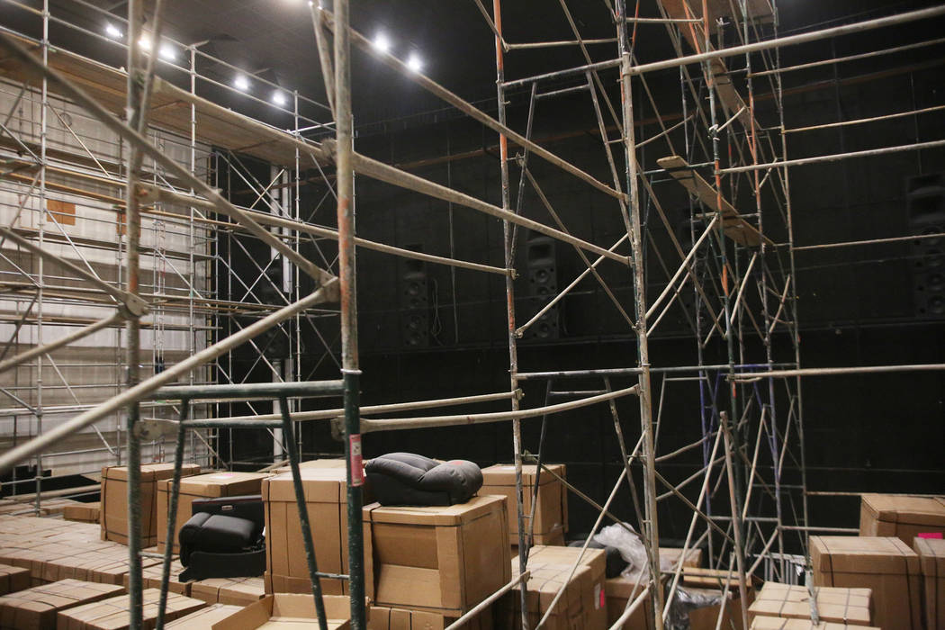 A 250 seat theatre under construction at the new Maya Cinemas in North Las Vegas, Wednesday, Dec. 12, 2018. The screen in this theatre is 72 feet, rivaling IMAX size. The aim of the theatre chain ...