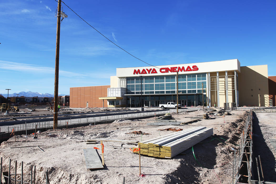 The new Maya Cinemas parking lot under construction in North Las Vegas, Wednesday, Dec. 12, 2018. The aim of the theatre chain is to serve latino-centric, underserved communities. The theatre will ...
