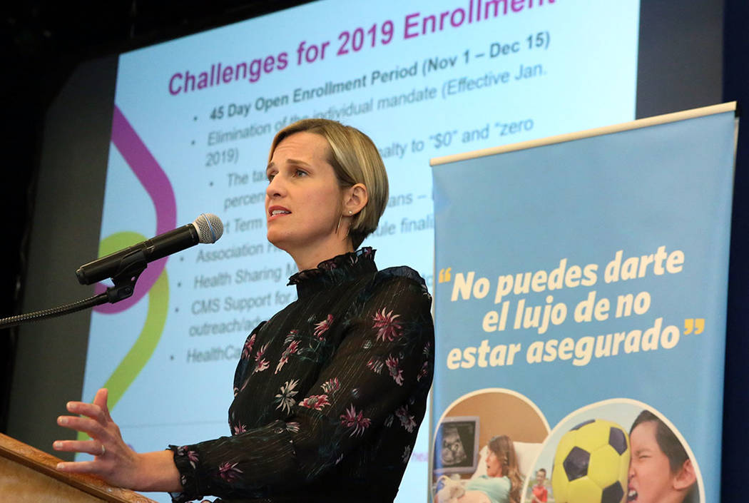 Heather Korbulic, executive director for the Silver State Health Insurance Exchange, speaks at the Nevada Health Link forum on Wednesday, Oct. 17, 2018, in Las Vegas. (Bizuayehu Tesfaye/Las Vegas ...