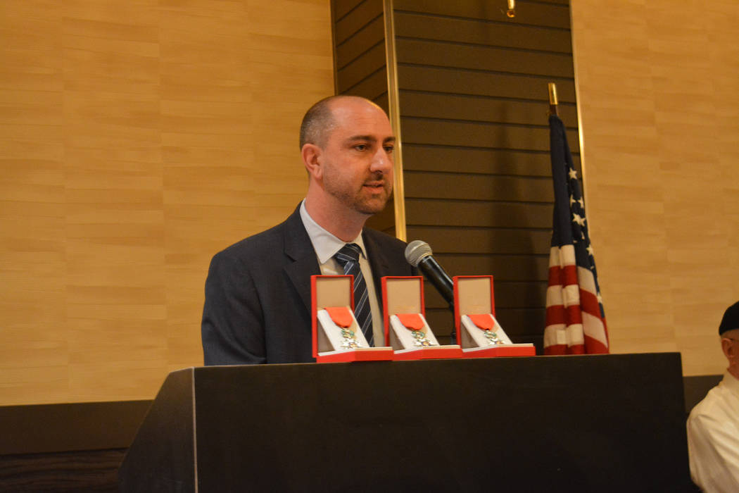 Sébastien Thévenin, honorary consul of France for Southern Nevada, speaks at the ceremony Nov. 17 at the M Resort. (Bob Reed)