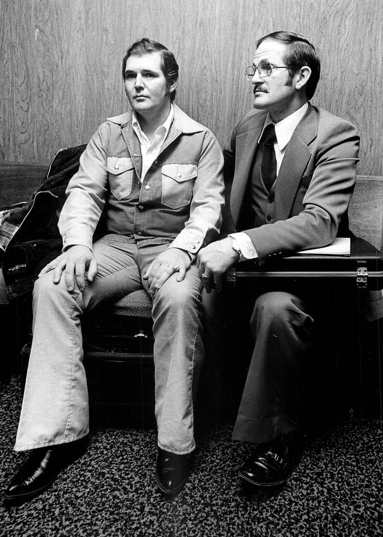 1978 - Melvin Dummar, left, with his attorney Roger Dutson, earned attention when he claimed to have saved reclusive business tycoon Howard Hughes in a Nevada desert in 1967, and to have been awar ...