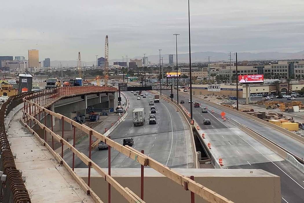 A stretch of Interstate 15 southbound as seen on Wednesday, Dec. 5, 2018, from the under-construction high occupancy vehicles flyover ramp. (Mick Akers/ Las Vegas Review-Journal)