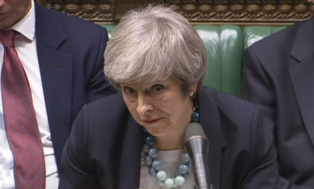 In this grab taken from video, Britain's Prime Minister Theresa May makes a statement in the House of Commons, in London, Monday, Dec. 10, 2018. May has postponed Parliament's vote on her Europe ...