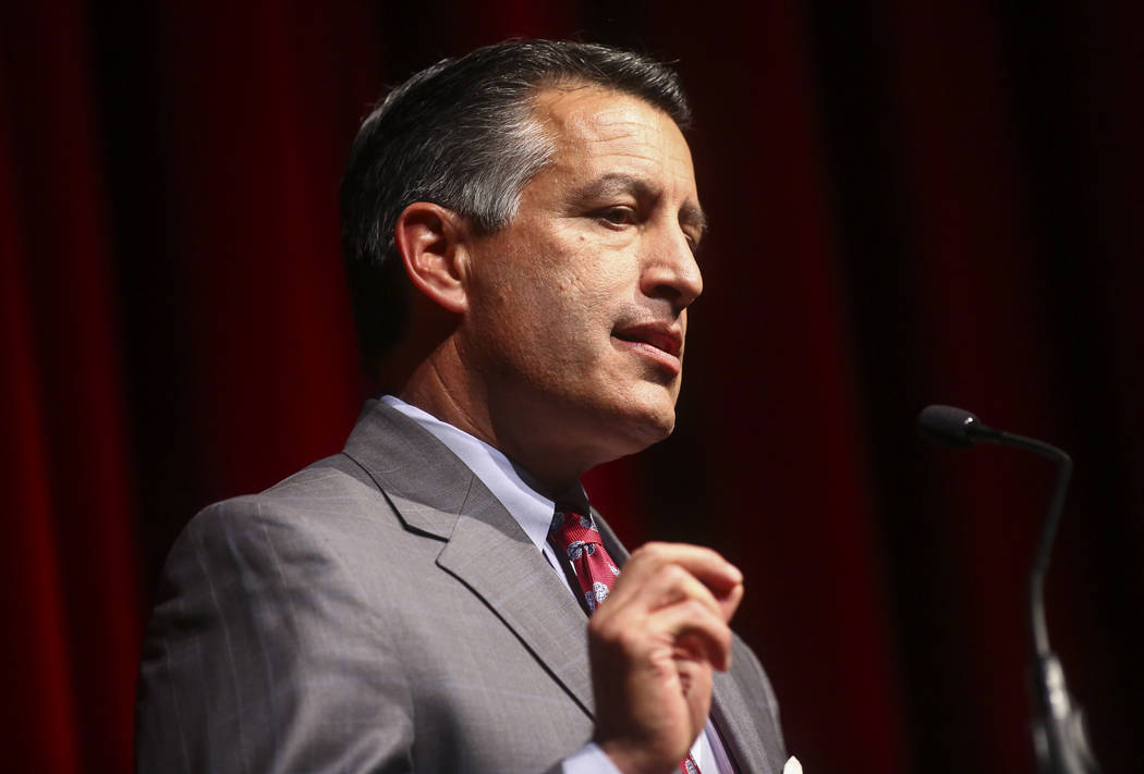 Gov. Brian Sandoval speaks during the UNLV Law Gala at the Bellagio in Las Vegas on Saturday, Dec. 1, 2018. (Chase Stevens/Las Vegas Review-Journal) @csstevensphoto