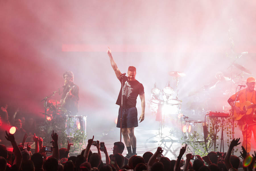 """Dan Reynolds of Imagine Dragons is shown at a fan appreciation show for the release of """"Origins"""" at the Chelsea at the Cosmopolitan of Las Vegas on Wednesday, Nov. 7 2018. (Kabik Photo Group)"""