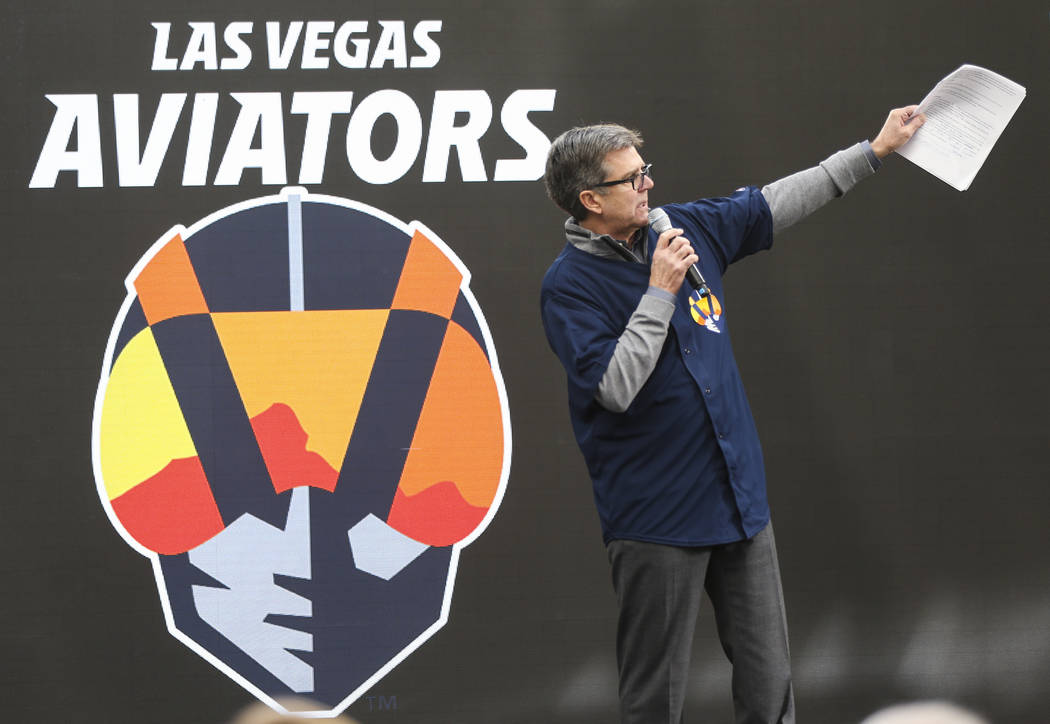 Tom Warden, senior vice president community & government relations of the Howard Hughes Corporation, talks about the new name and logo of Las Vegas' Triple-A baseball team, Las Vegas Aviators, ...