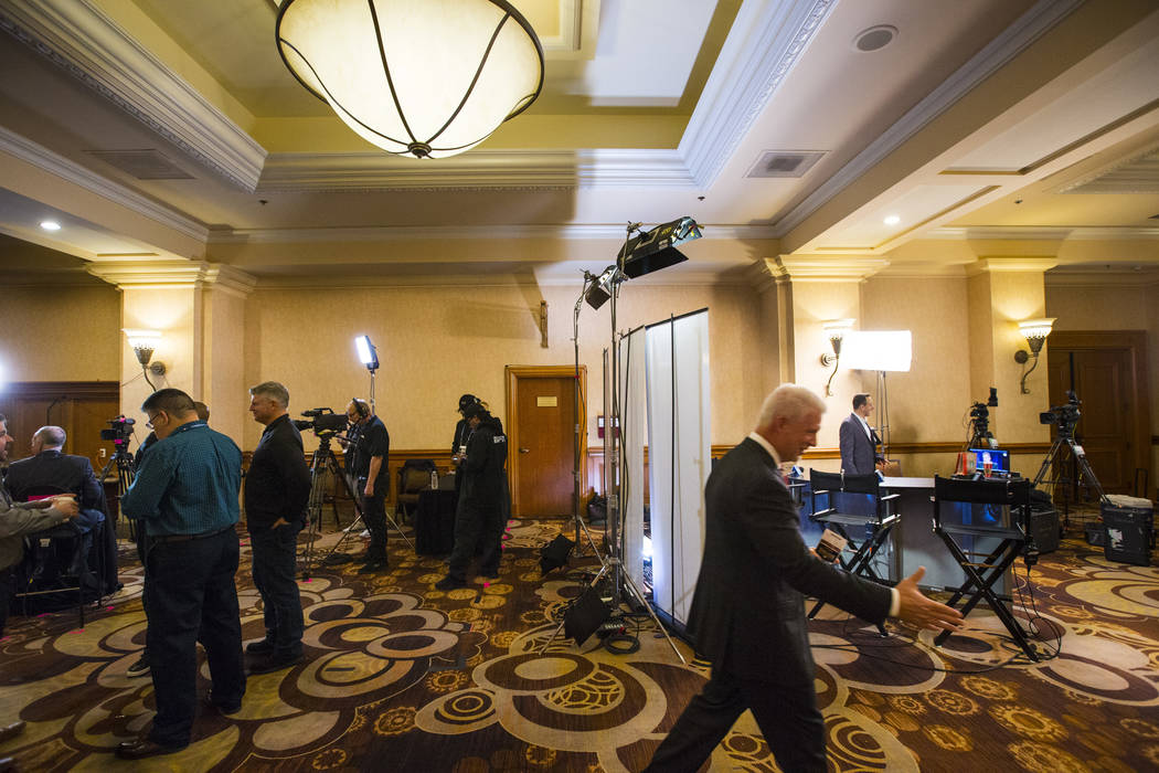 Broadcast and cable networks set up for interviews during Major League Baseball's winter meetings at Mandalay Bay in Las Vegas on Monday, Dec. 10, 2018. Chase Stevens Las Vegas Review-Journal @css ...
