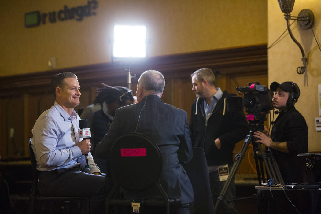 Cincinnati Reds manager David Bell, left, is interviewed during Major League Baseball's winter meetings at Mandalay Bay in Las Vegas on Monday, Dec. 10, 2018. Chase Stevens Las Vegas Review-Journa ...