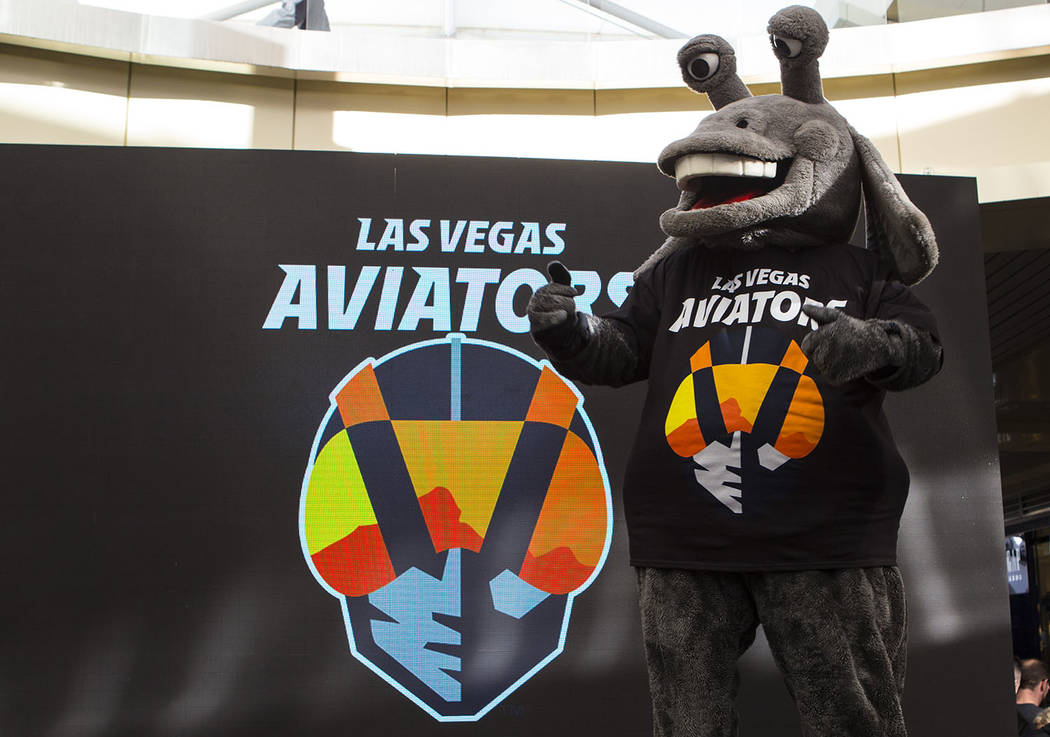 Cosmo wears a shirt with the new logo and name of Las Vegas' Triple-A baseball team, Las Vegas Aviators, after the unveiling at Downtown Summerlin in Las Vegas on Saturday, Dec. 8, 2018. Chase Ste ...