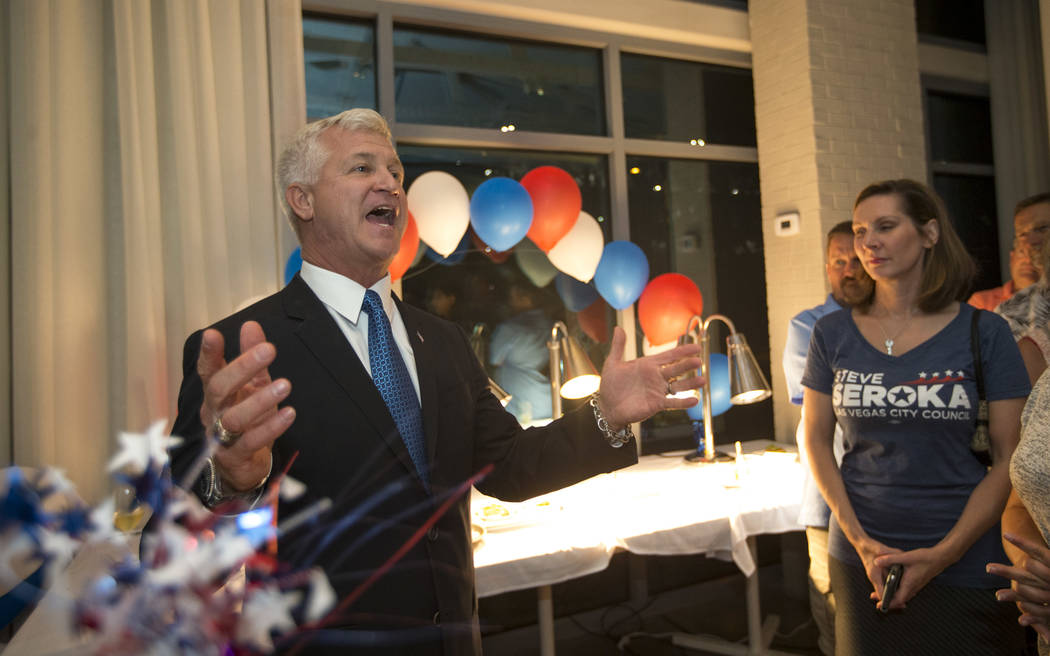 Las Vegas City Council candidate Steve Seroka speaks to guests during his election result party in Las Vegas on Tuesday, June 13, 2017. Richard Brian Las Vegas Review-Journal @vegasphotograph