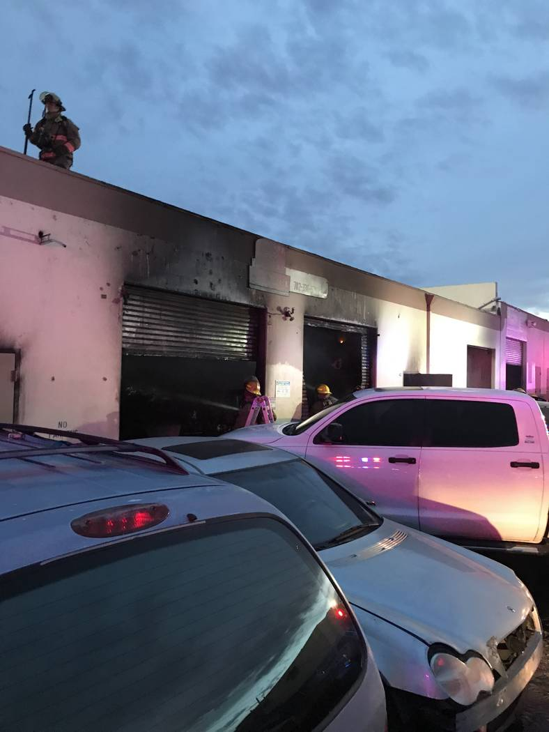 Clark County Fire Department crews respond to a building fire at Midnight Motors, 3855 S. Valley View Blvd. on Monday, Dec. 10, 2018. (Clark County Fire Department)