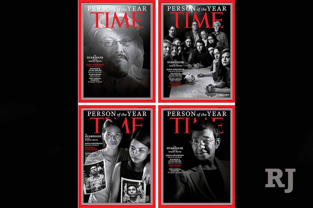 """Time magazine's 2018 person of the year are the """"guardians and the war on truth."""" (Time via AP)"""