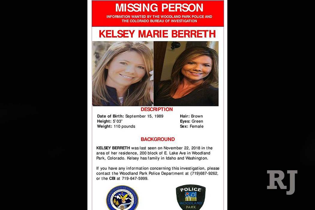 This image shows a missing person poster on Kelsey Berreth, seen on the Woodland Park, Colo., Police Department's Facebook page on Dec. 10, 2018. (Woodland Park Police Department via AP)