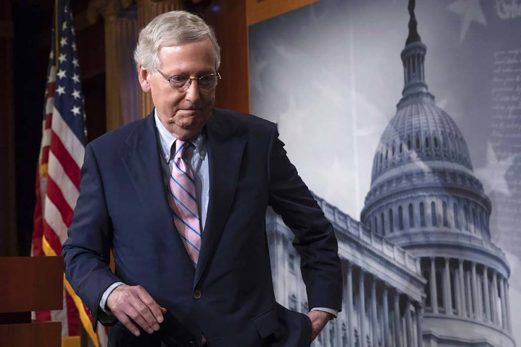 Senate Majority Leader Mitch McConnell, R-Ky., said Tuesday, Dec. 11, 2018, that the Senate will vote on a prison and sentencing reform measure endorsed by President Donald Trump. (J. Scott Applew ...