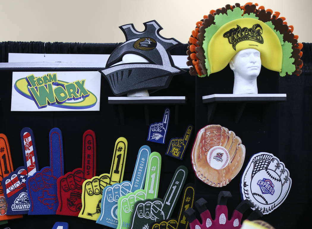 Foam items by Foam Worx on display during the baseball trade show at Major League Baseball's winter meetings at Mandalay Bay in Las Vegas on Tuesday, Dec. 11, 2018. Chase Stevens Las Vegas Review- ...