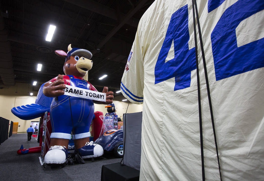 Inflatable displays during the baseball trade show at Major League Baseball's winter meetings at Mandalay Bay in Las Vegas on Tuesday, Dec. 11, 2018. Chase Stevens Las Vegas Review-Journal @csstev ...
