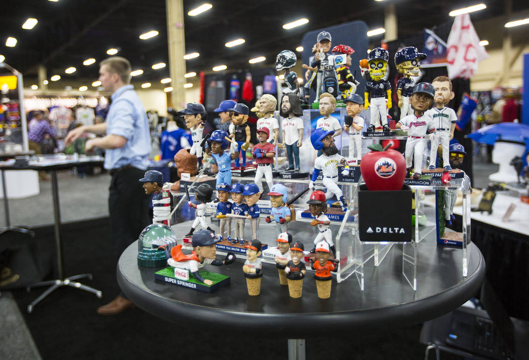 Collectible items by BDA Sports on display during the baseball trade show at Major League Baseball's winter meetings at Mandalay Bay in Las Vegas on Tuesday, Dec. 11, 2018. Chase Stevens Las Vegas ...