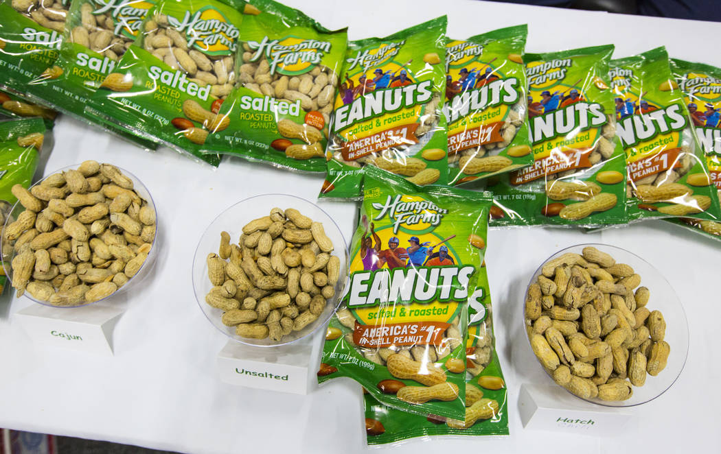 Hampton Farms peanuts, which include hatch chili and cajun among others, on display during the baseball trade show at Major League Baseball's winter meetings at Mandalay Bay in Las Vegas on Tuesda ...