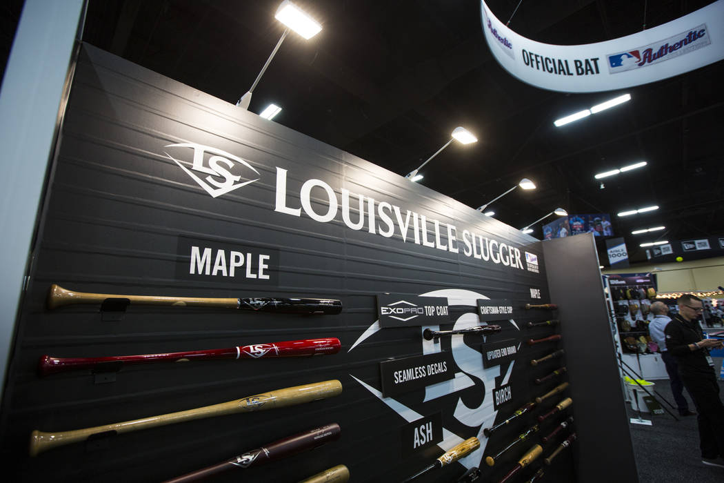 Louisville Slugger bats on display during the baseball trade show at Major League Baseball's winter meetings at Mandalay Bay in Las Vegas on Tuesday, Dec. 11, 2018. Chase Stevens Las Vegas Review- ...