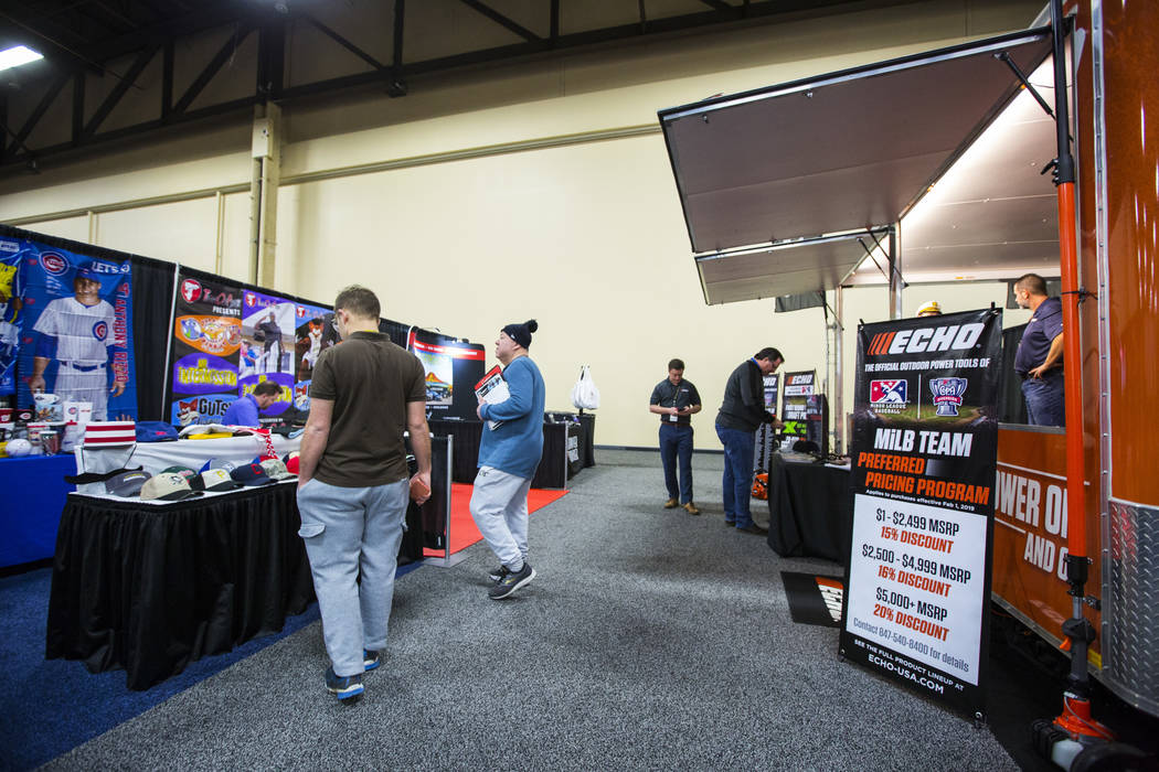 Attendees explore the baseball trade show at Major League Baseball's winter meetings at Mandalay Bay in Las Vegas on Tuesday, Dec. 11, 2018. Chase Stevens Las Vegas Review-Journal @csstevensphoto