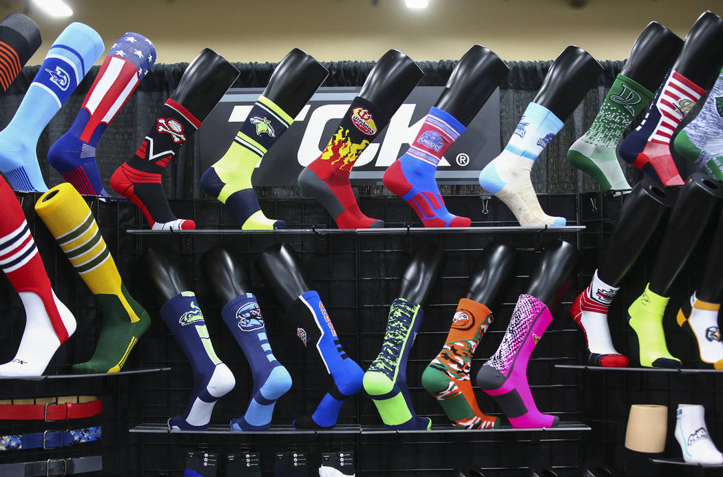 Socks by TCK on display during the baseball trade show at Major League Baseball's winter meetings at Mandalay Bay in Las Vegas on Tuesday, Dec. 11, 2018. Chase Stevens Las Vegas Review-Journal @cs ...