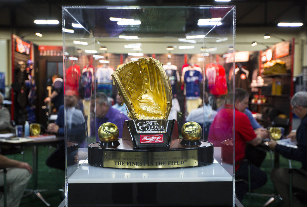 A Rawlings Gold Glove Award on display during the baseball trade show at Major League Baseball's winter meetings at Mandalay Bay in Las Vegas on Tuesday, Dec. 11, 2018. Chase Stevens Las Vegas Rev ...