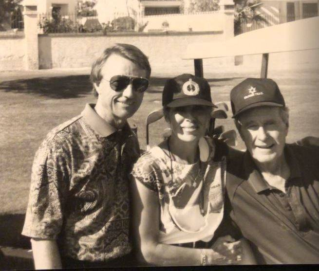 Jerry Roberts, Barb Roberts and George H.W. Bush at Spanish Trail Country Club. Courtesy - Jerry Roberts