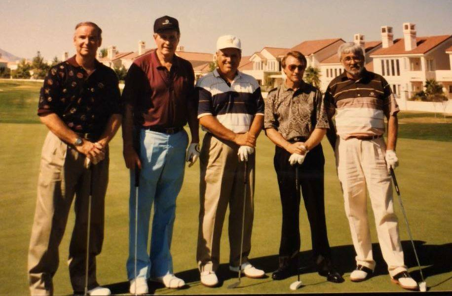 Gary Primm, George H. W. Bush, Gil Cohen, Jerry Roberts and Gary Serret on Oct. 2, 1993, at Spanish Trail Country Club. Courtesy photo - Jerry Roberts.