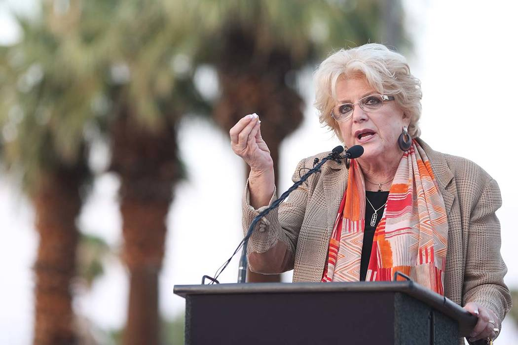 Las Vegas Mayor Carolyn Goodman speaks during a dedication ceremony for the new city of Las Vegas sign on Las Vegas Boulevard near the Stratosphere on Tuesday, Aug., 7, 2018. (Benjamin Hager/Las V ...