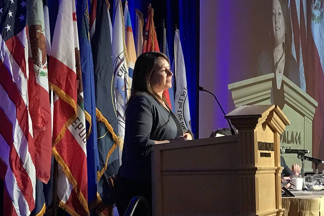U.S. Bureau of Reclamation Commissioner Brenda Burman speaks during the annual meeting of the Colorado River Water Users Association on Dec. 13, 2018, at Caesars Palace in Las Vegas. (Henry Brean/ ...