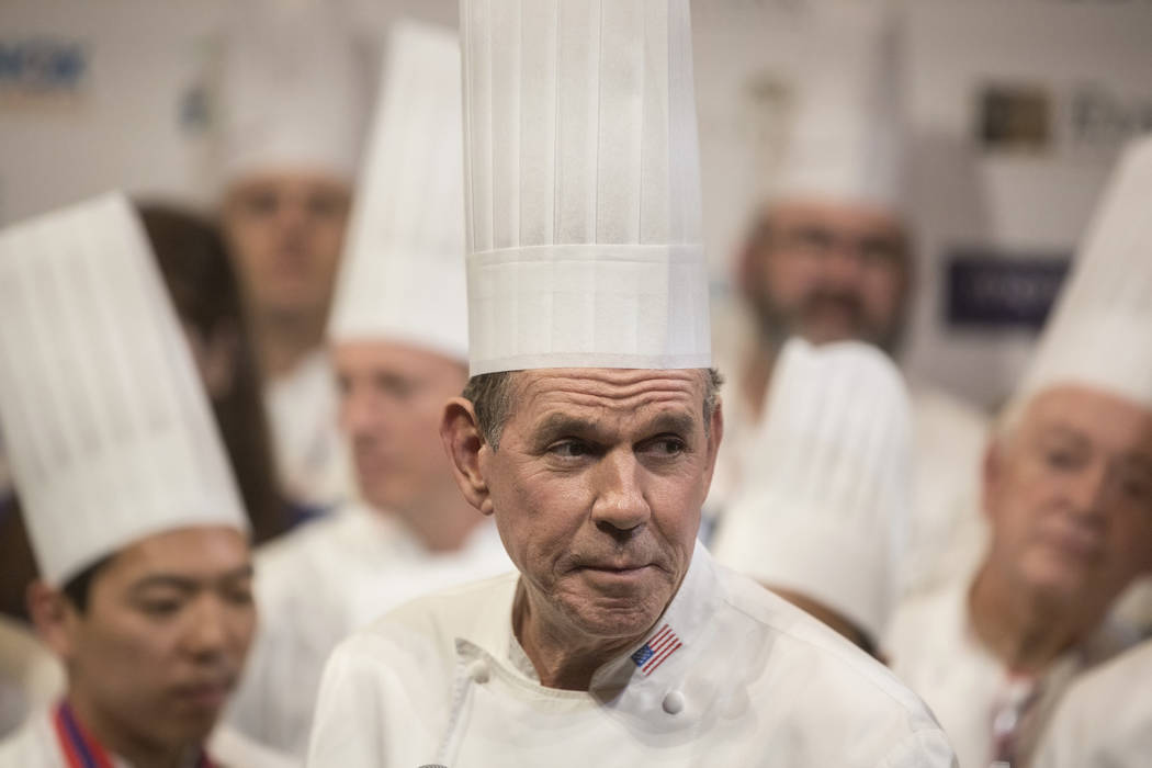 Chef Thomas Keller addresses the crowd before reading the finals results during the Bocuse d'Or cooking competition on Thursday, Nov. 9, 2017, at The Palazzo hotel-casino, in Las Vegas. Benjamin H ...