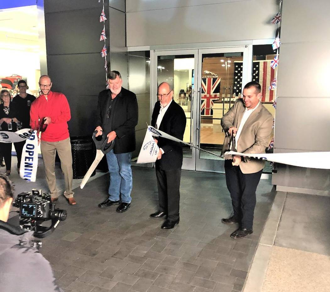Jaguar Land Rover Las Vegas recently celebrated its grand opening at 6425 W. Roy Horn Way in southwest Las Vegas. From left, Findlay Auto Group Operations Manager Robby Findlay, Findlay Automotive ...