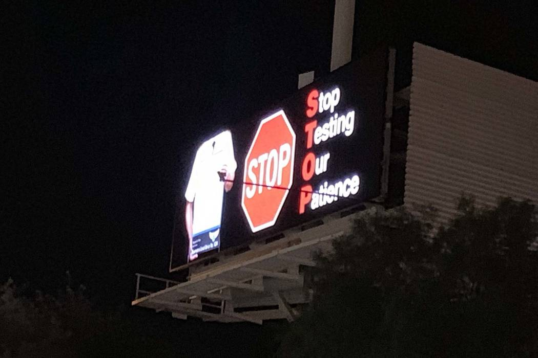 Allegiant Air pilots are using billboards to air issues. This billboard was near the 215 Beltway and Windmill Lane in Henderson, Wednesday, Dec. 12, 2018. (Mick Ackers/Las Vegas Review-Journal)