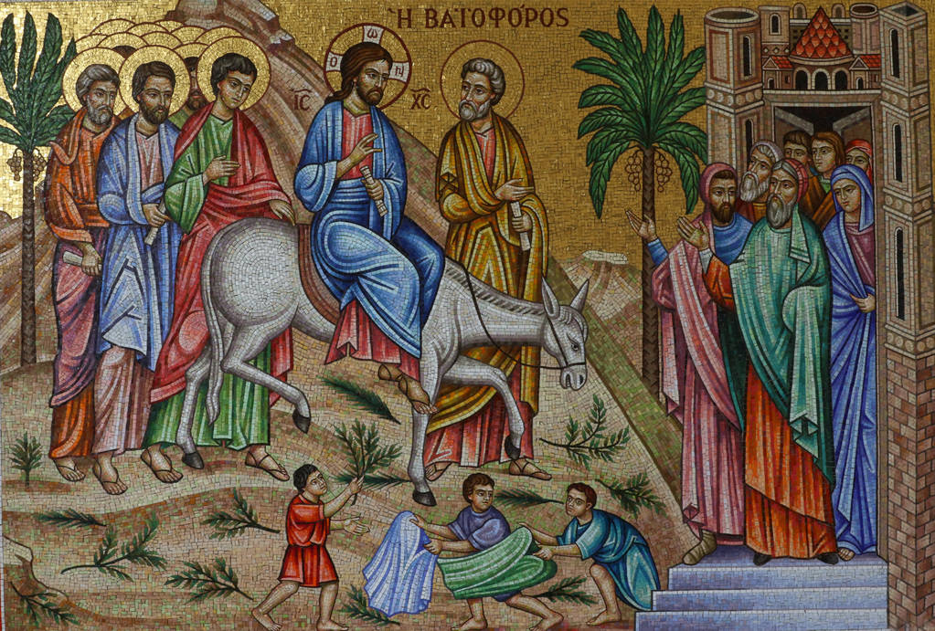 A Greek mosaic depicting Jesus Christ during Palm Sunday is seen at St. John the Baptist Greek Orthodox Church on Friday, Dec, 14, 2018, in Las Vegas. Bizuayehu Tesfaye Las Vegas Review-Journal @b ...