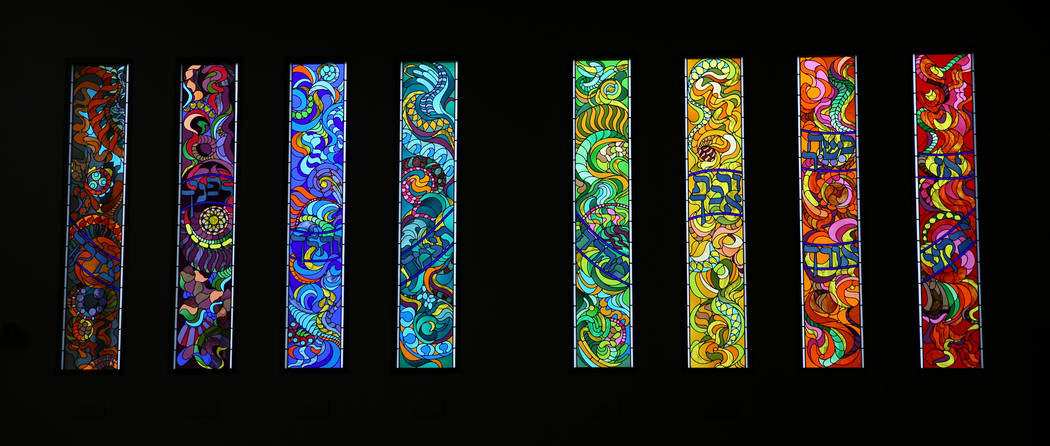 Stained glass windows at Temple Beth Sholom in Las Vegas Friday, Dec. 14, 2018. K.M. Cannon Las Vegas Review-Journal @KMCannonPhoto