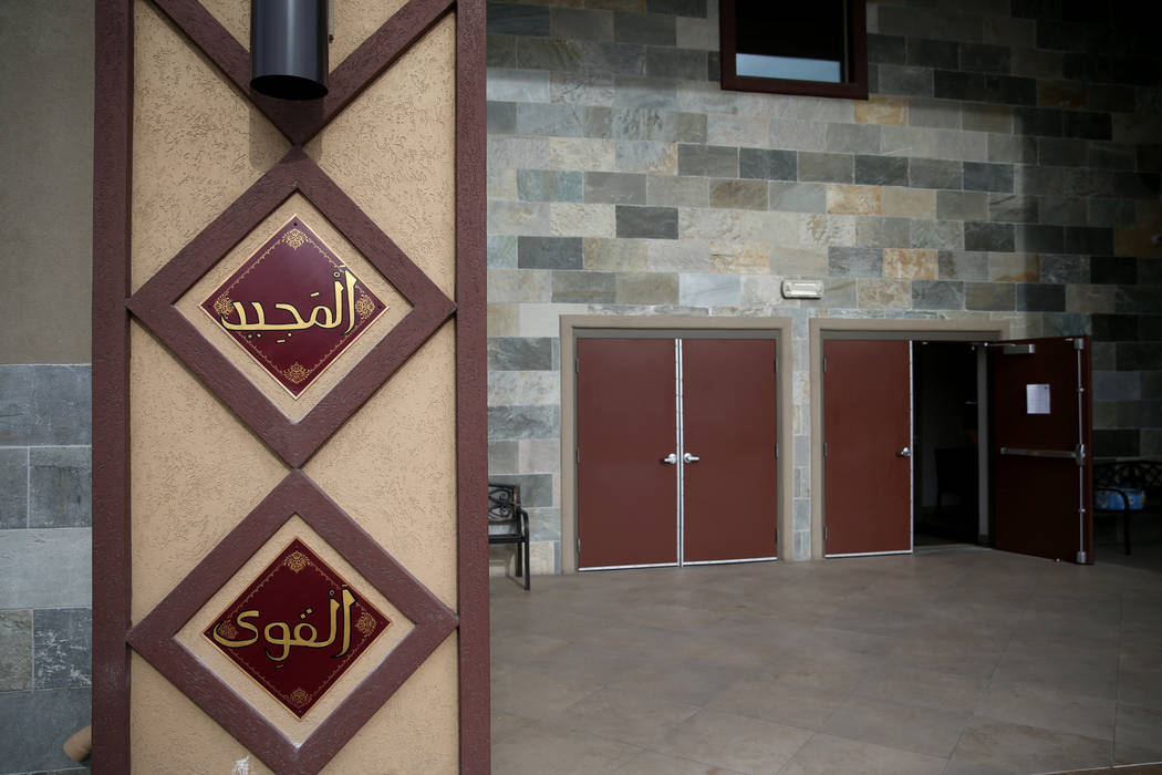 Panels featuring some of the 99 Names of Allah, indluding xxxx, top, and The Strong, surround the entrance to Masjid Ibrahim Islamic Center in Las Vegas Friday, Dec. 14, 2018. K.M. Cannon Las Vega ...