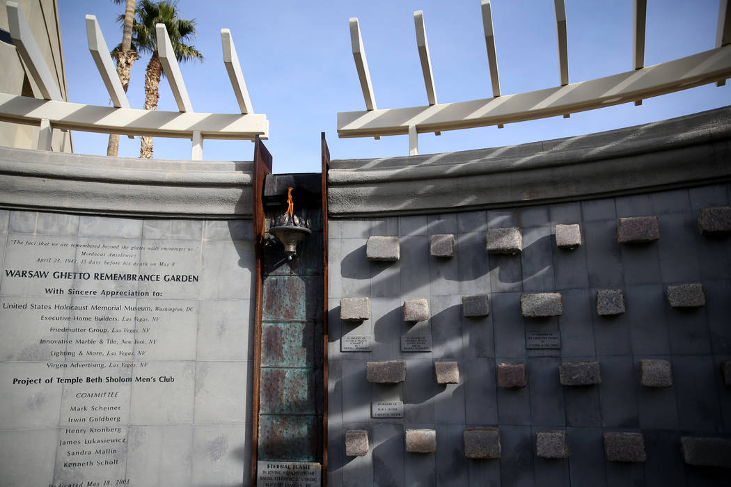 The Warsaw Ghetto Remembrance Garden at Temple Beth Sholom in Las Vegas Friday, Dec. 14, 2018. K.M. Cannon Las Vegas Review-Journal @KMCannonPhoto