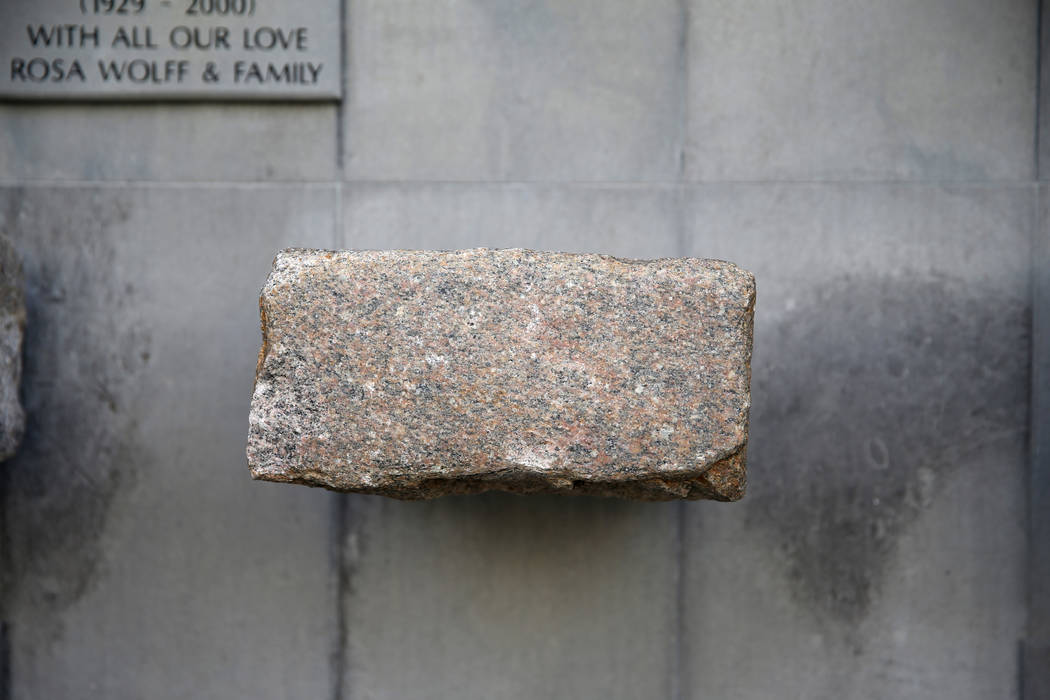 A stone from one of the Warsaw ghetto streets in the Warsaw Ghetto Remembrance Garden at Temple Beth Sholom in Las Vegas Friday, Dec. 14, 2018. K.M. Cannon Las Vegas Review-Journal @KMCannonPhoto