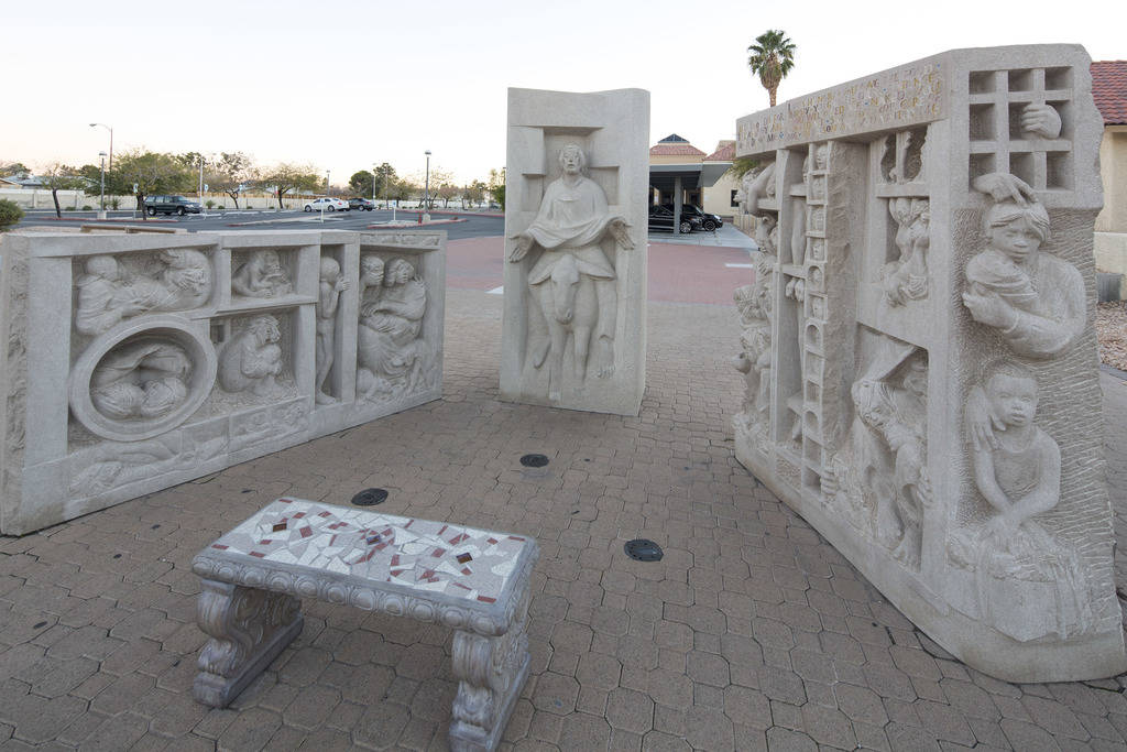 Three hand-carved limestone sculptures by artist Joe O' Connell outside the Christ the King Catholic Church located at 4925 S. Torrey Pines Drive in Las Vegas on Wednesday, Dec. 12, 2018. ÒJu ...