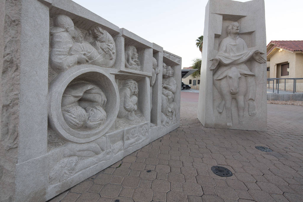 Three hand-carved limestone sculptures by artist Joe O' Connell outside the Christ the King Catholic Church located at 4925 S. Torrey Pines Drive in Las Vegas on Wednesday, Dec. 12, 2018. Richard ...
