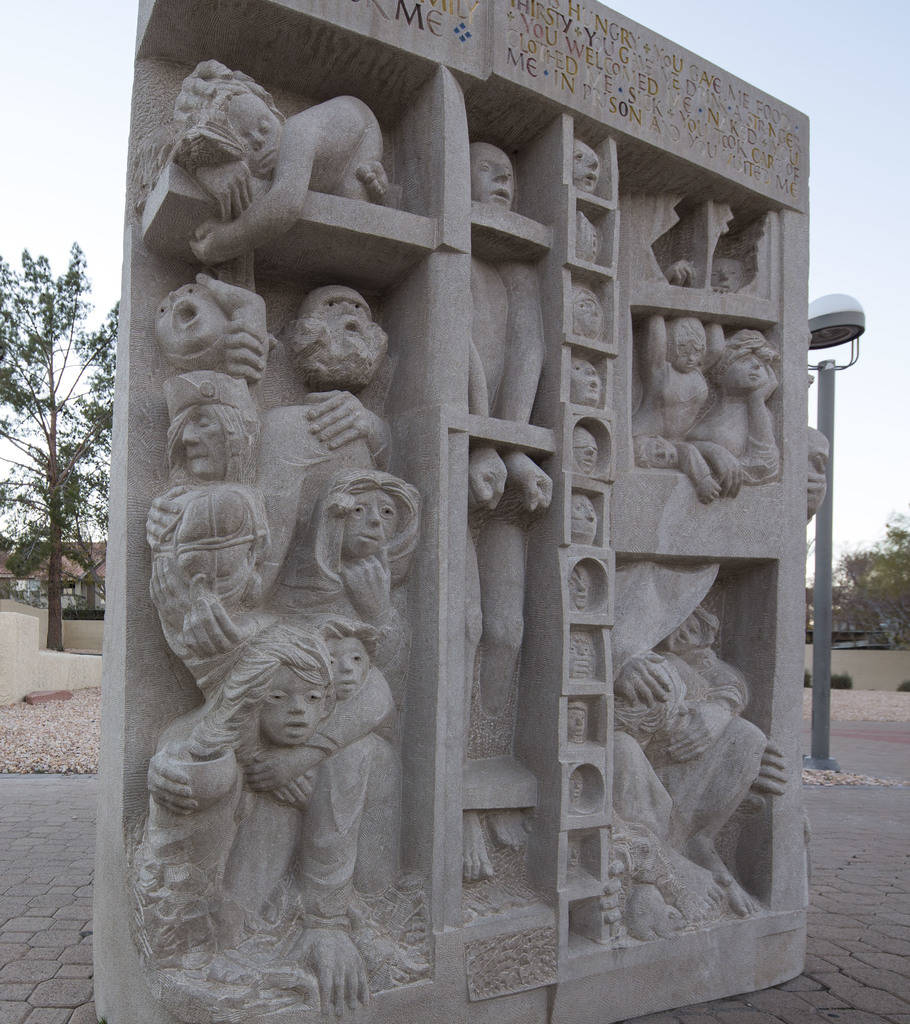 Three hand-carved limestone sculptures by artist Joe O' Connell outside the Christ the King Catholic Church located at 4925 S. Torrey Pines Drive in Las Vegas on Wednesday, Dec. 12, 2018. ÒJust a ...