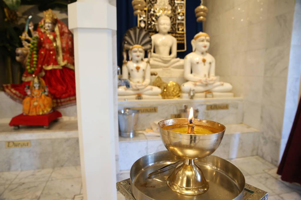 A candle burns inside the Hindu Temple of Las Vegas in Las Vegas, Thursday, Dec. 13, 2018. Erik Verduzco Las Vegas Review-Journal @Erik_Verduzco