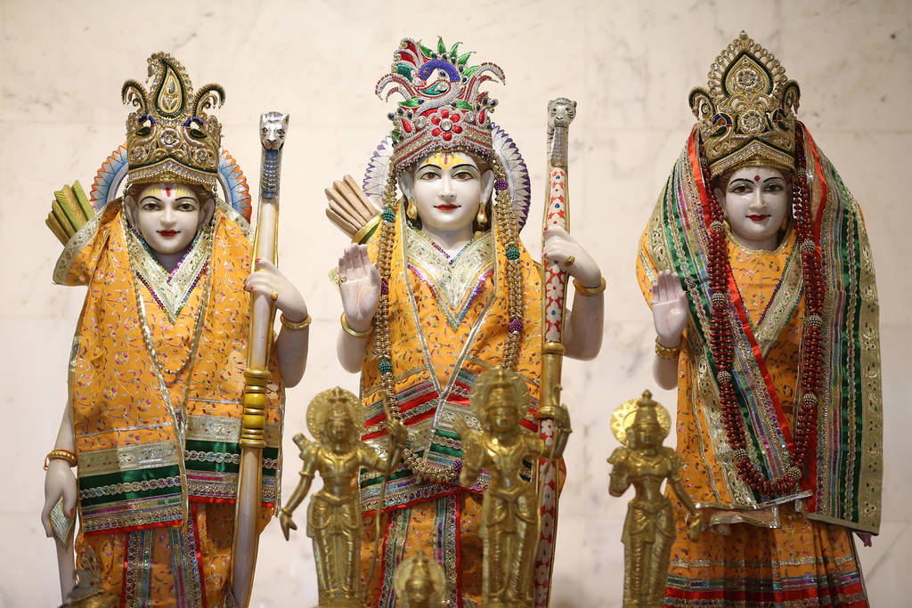 Statue of deities Lakshman, from left, Ram, and Sita, at the Hindu Temple of Las Vegas in Las Vegas, Thursday, Dec. 13, 2018. Erik Verduzco Las Vegas Review-Journal @Erik_Verduzco
